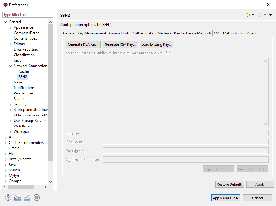 Creating SSH keys in Eclipse on Windows 10 | Shane's